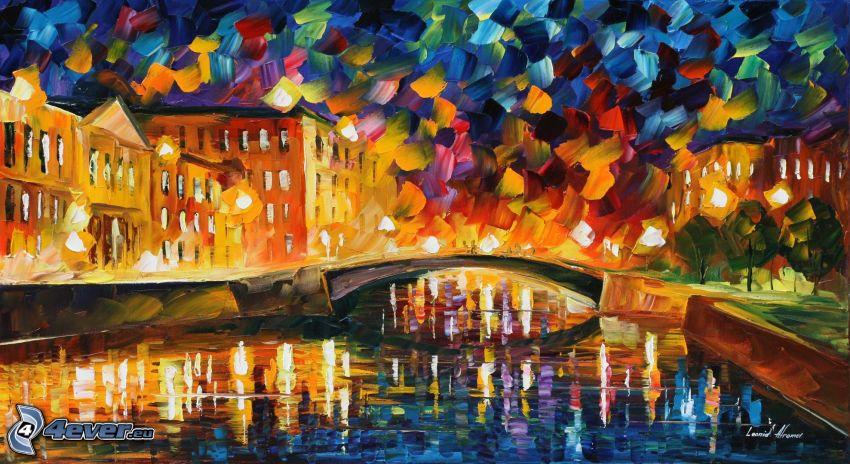 eingezeichnete Stadt, Brücke, Fluss, Ölgemälde