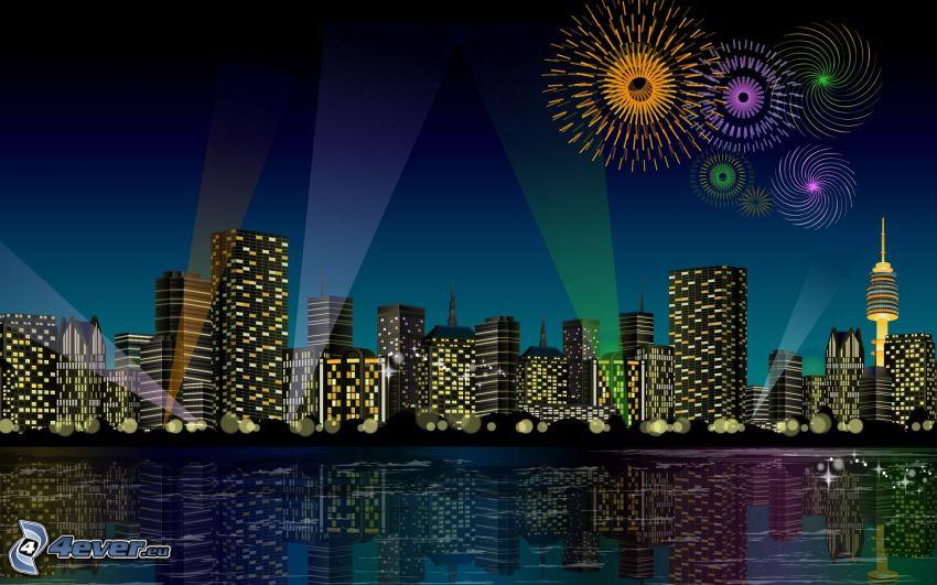 eingezeichnete Stadt, Feuerwerk