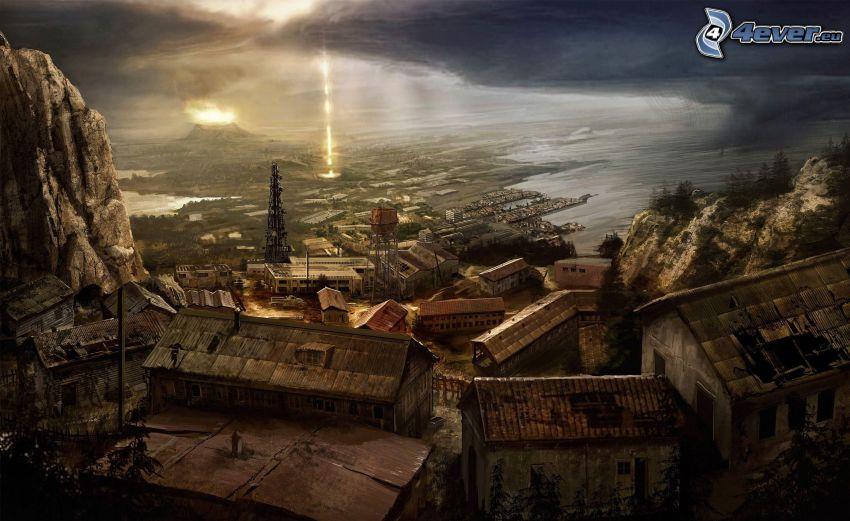 eingezeichnete Stadt, Häuser