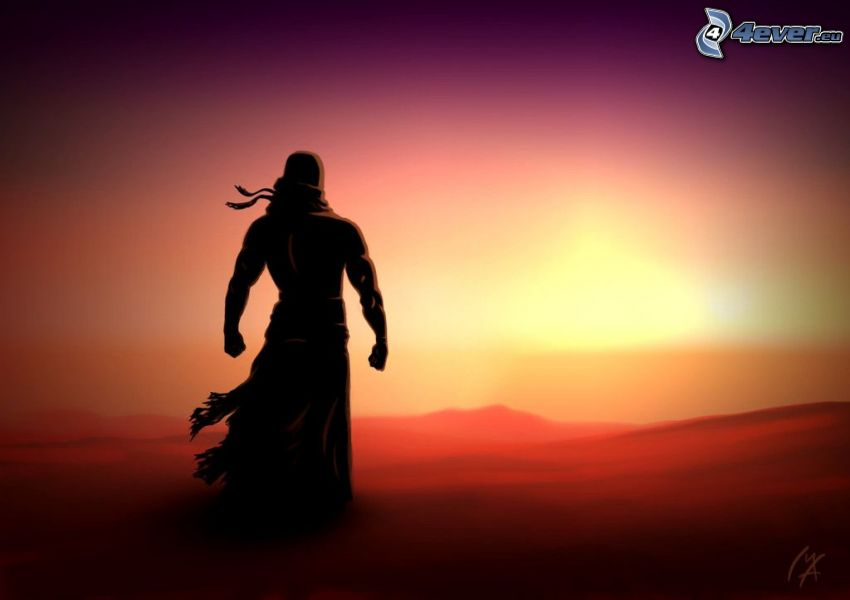 eingezeichneter Kerl, Silhouette eines Mannes, Sonnenuntergang