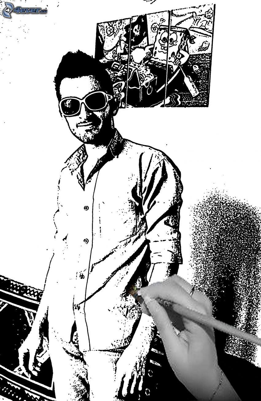 eingezeichneter Kerl, Sonnenbrille, Spongebob, Hand, Kugelschreiber, Zeichnung