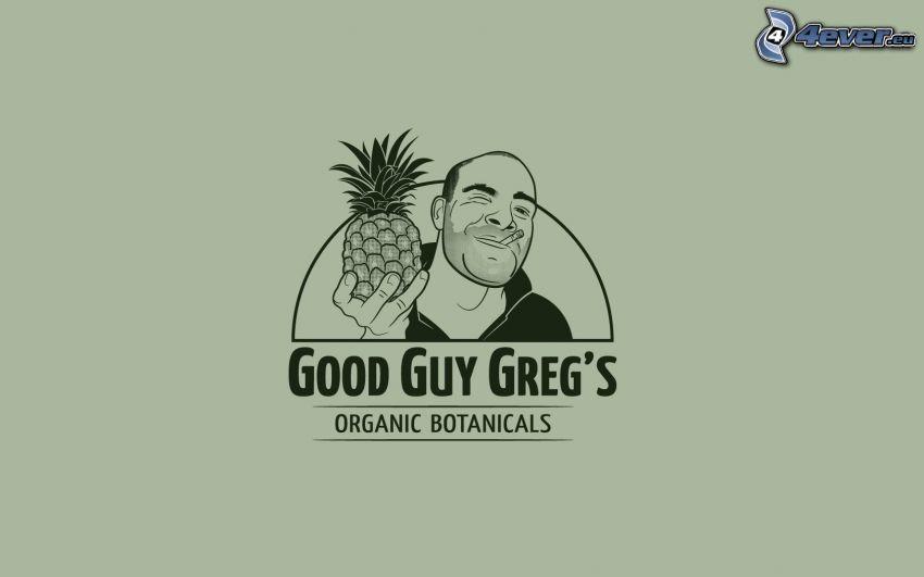 eingezeichneter Kerl, Zigarette, Ananas