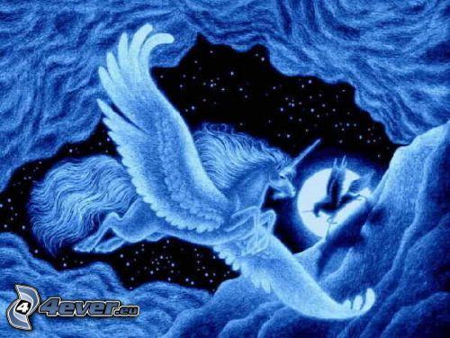 Einhorn auf dem Himmel, Kunst, Freiheit