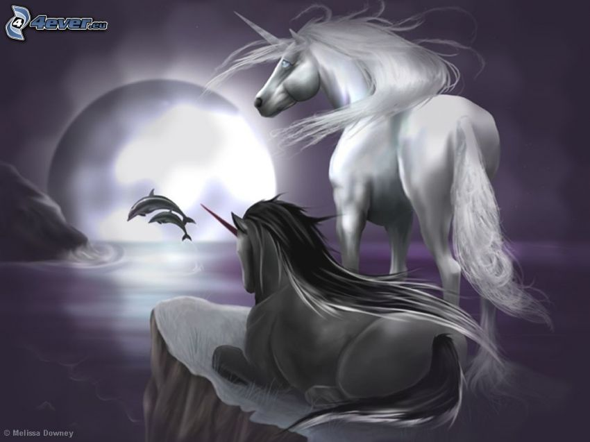 Einhörner, Delphine, Mond