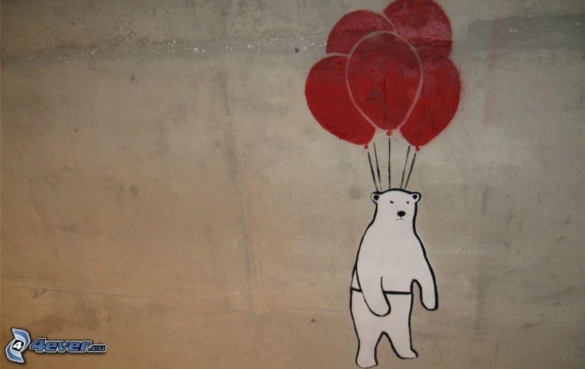 Eisbär, Luftballons