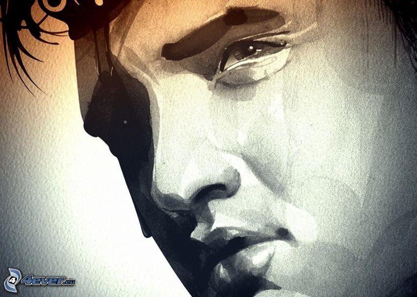 Elvis Presley, gezeichnetes Gesicht