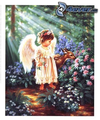 Engel, Kind, Reh, Wald, Blumen