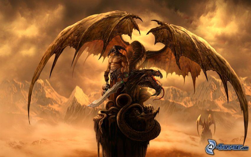 Fantasy Kämpfer, Drache, Berge