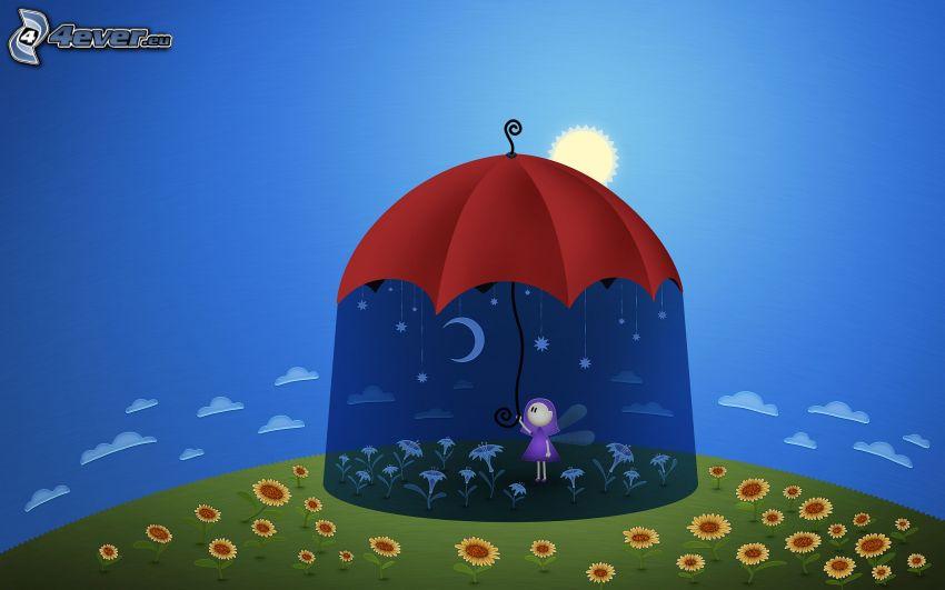 Fee, Regenschirm, Sonne, Sonnenblumen