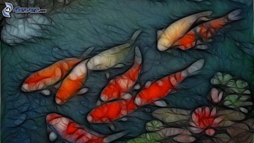 Fische, Seerose