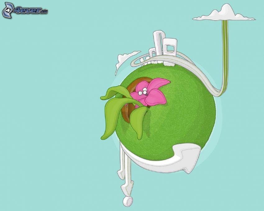 fliegende Insel, rosa Blume