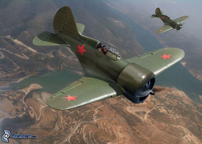 Flugzeuge, Aussicht auf die Landschaft