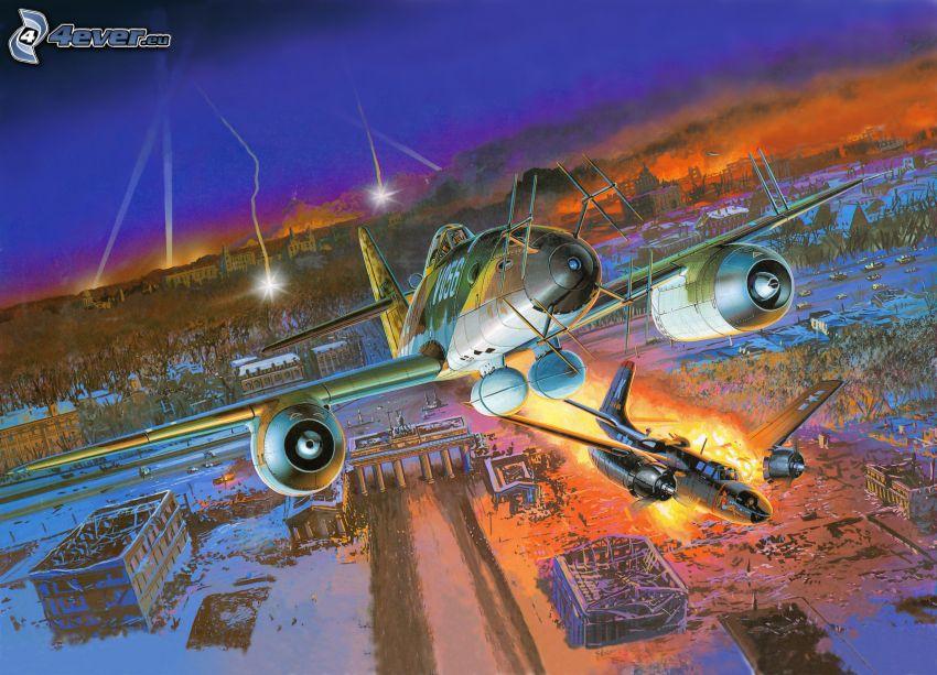 Flugzeuge, Flamme, verschneite Landschaft