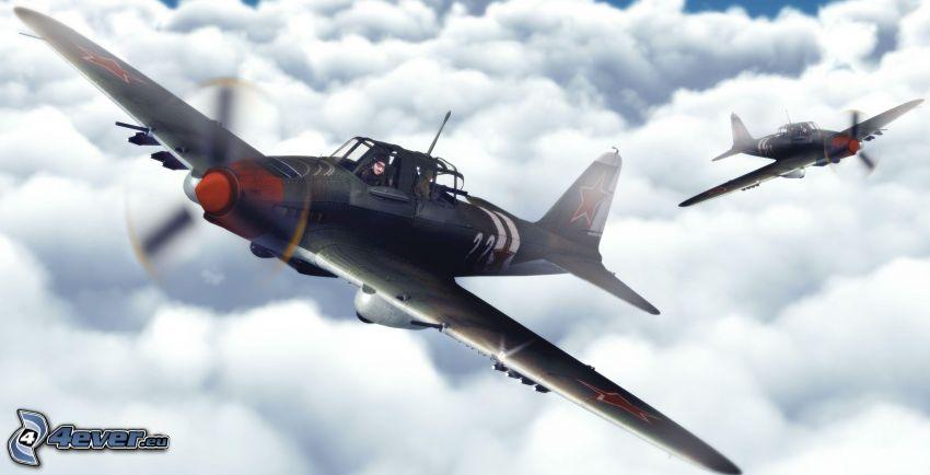 Flugzeuge, über den Wolken