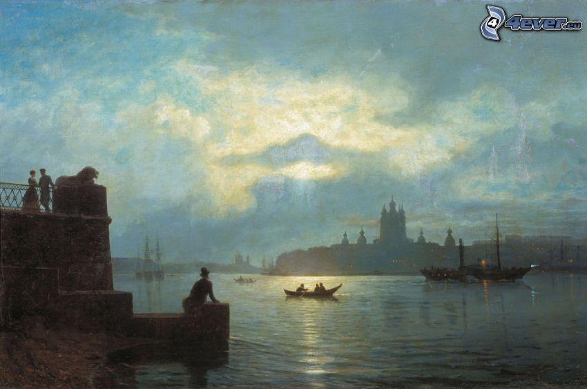 Fluss, Boot, Menschen