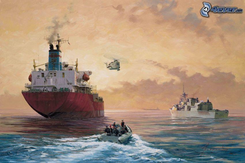 Frachter, Boot, Meer, Hubschrauber