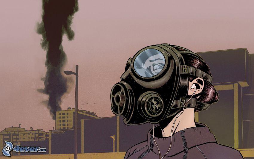 Gasmaske, Cartoon-Mädchen, City