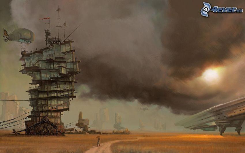 Gebäude, Luftschiff, Wolken, Sonne