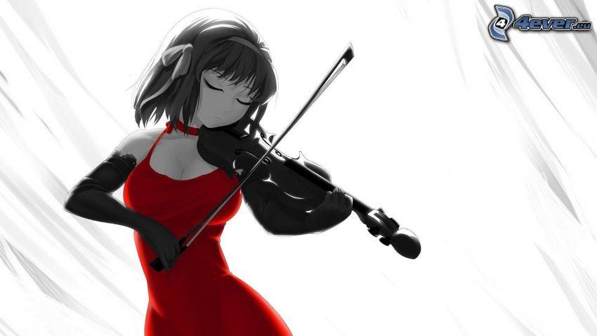 Geige spielen, Geigerin, rotes Kleid