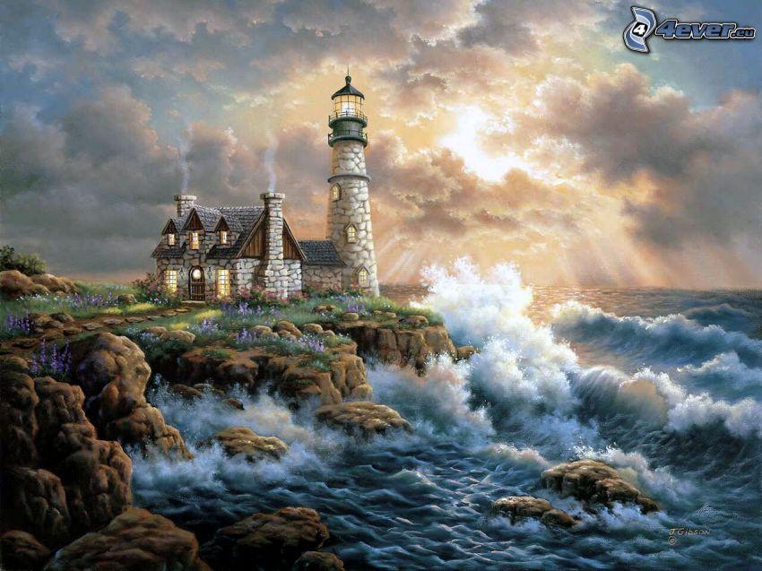 gemalter Leuchtturm, Meer, Klippe, Wolken, Himmel