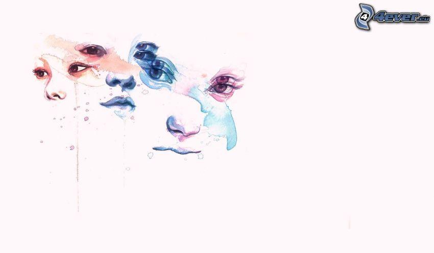 Gesichter, weißer Hintergrund