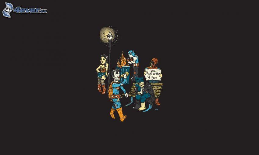 gezeichnete Figürchen, Spiderman, Batman