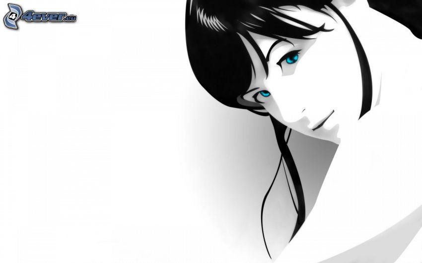 gezeichnete Frau, blaue Augen