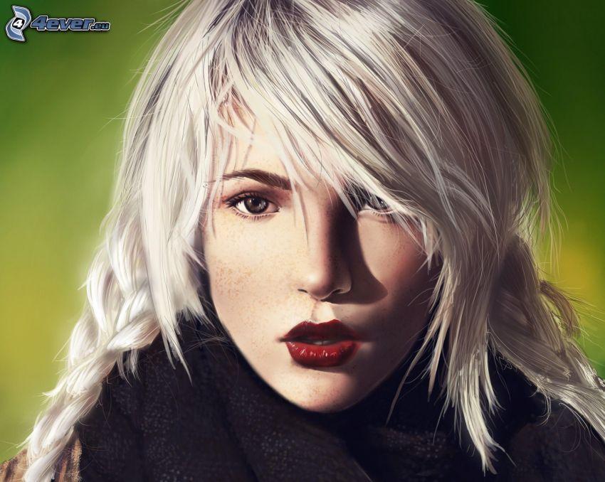 gezeichnete Frau, Blondine, rote Lippen