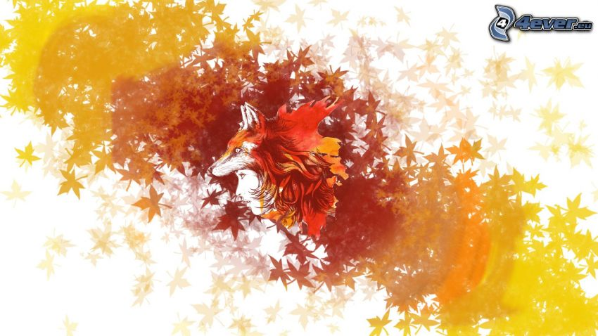 gezeichnete Frau, Cartoon-Fuchs, Herbstlaub
