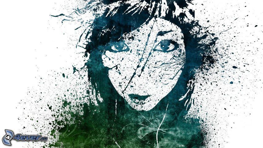 gezeichnete Frau, Gesicht, Kleckse