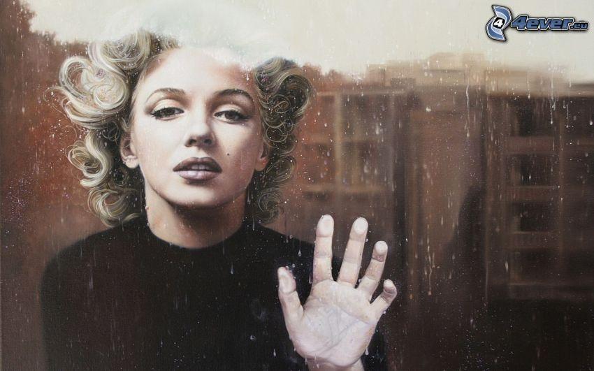 gezeichnete Frau, Glas