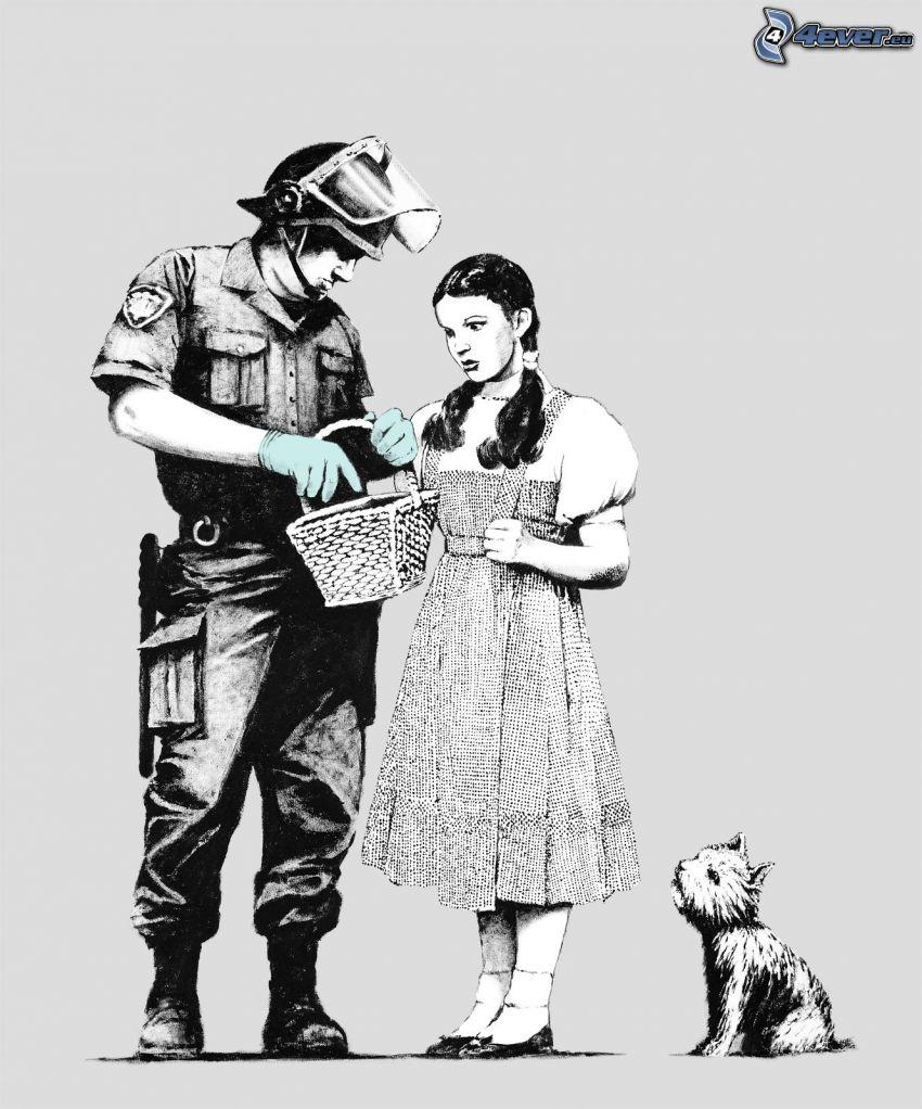 gezeichnete Frau, Polizist, gezeichneter Hund, Korb