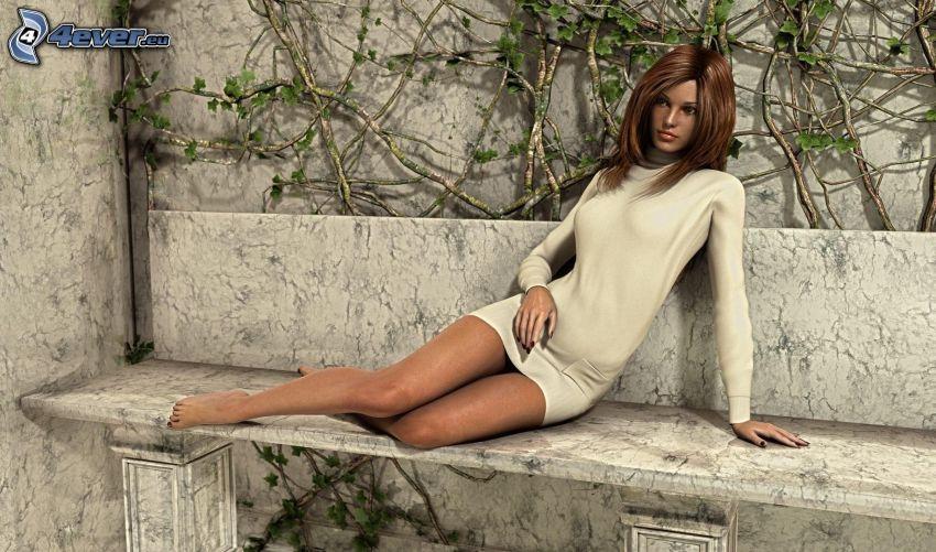 gezeichnete Frau, schlanke sexy Brünette, Sitzbank