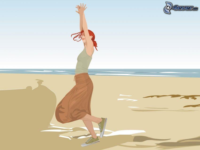 gezeichnete Frau, Strand, Meer