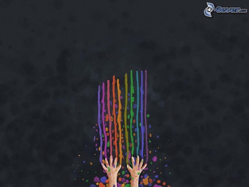 gezeichnete Hände, farbige Linien, Kleckse