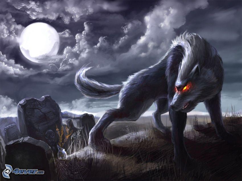 gezeichneter Wolf, Denkmal, Mond, Nacht