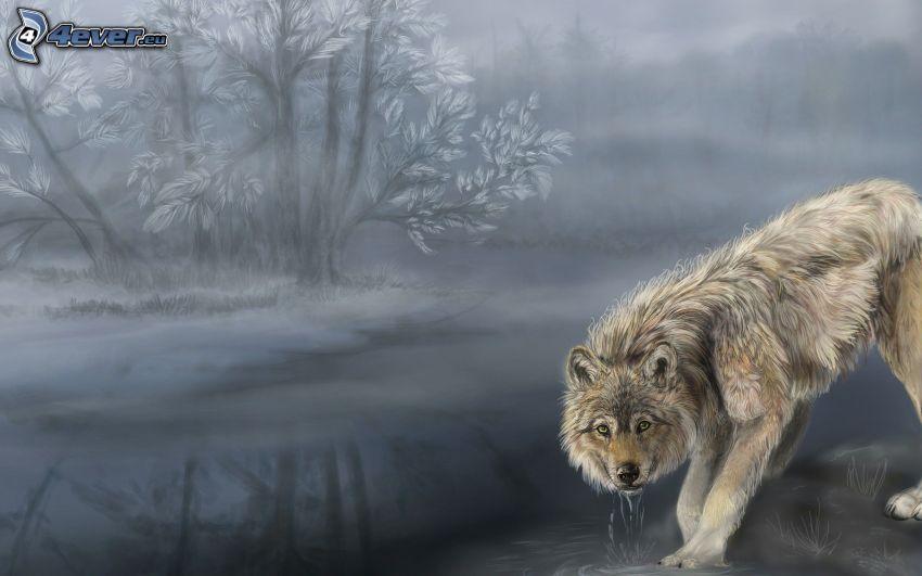 gezeichneter Wolf, Fluss, Bäume