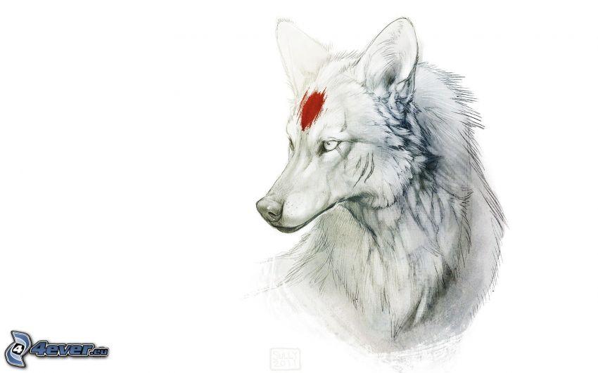 gezeichneter Wolf