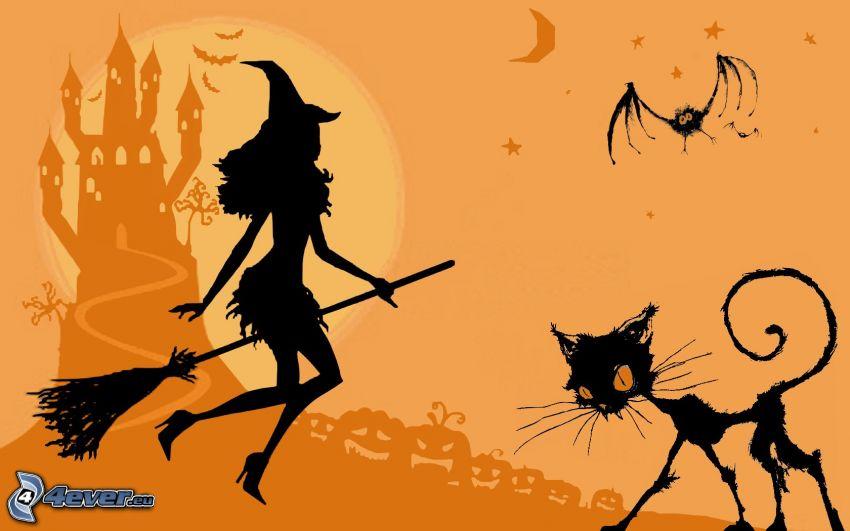 Halloween, Hexe, Hexe auf Besen, schwarze Katze, Schloss, Fledermaus