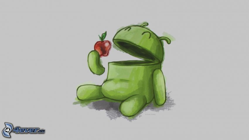 Android, Apfel, Cartoon