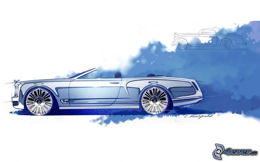 Bentley Mulsanne, gezeichnetes Auto
