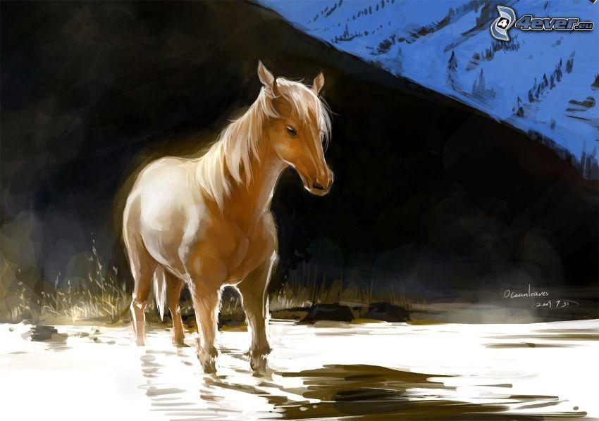 braunes Pferd, gezeichnetes Pferd