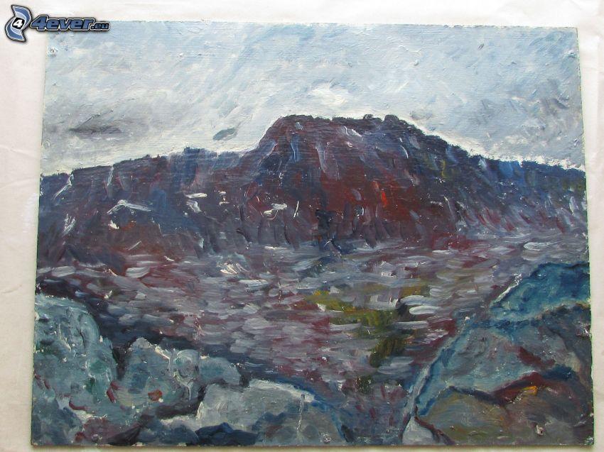 felsiger Hügel, Malerei