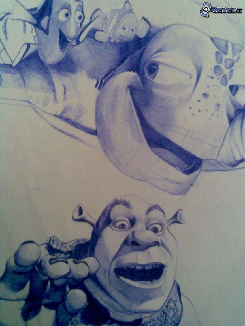 gezeichnete Figürchen, Nemo, Shrek