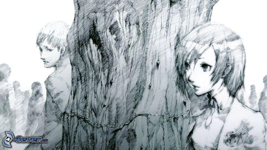 gezeichnetes Paar, Baum