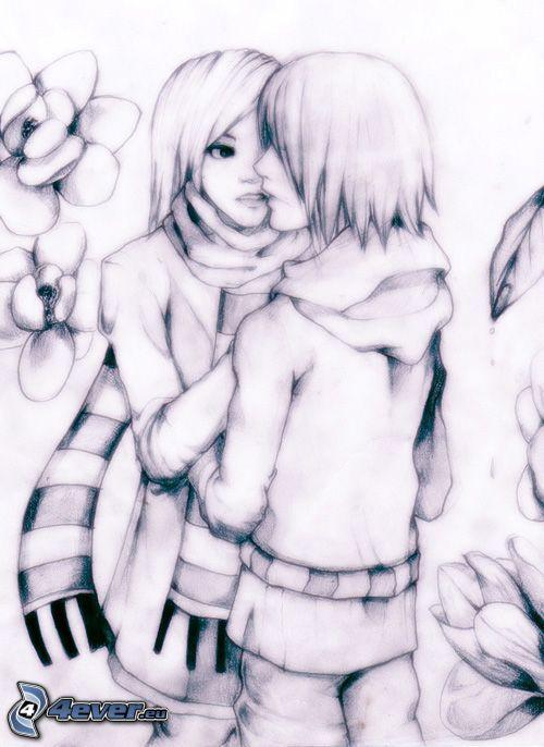 gezeichnetes Paar, Umarmung, Liebe