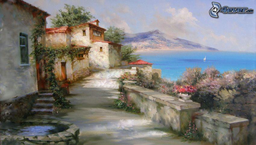 Häuser am Meer, Gehweg, Meer, Malerei