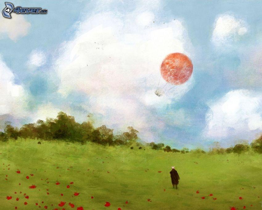 Heißluftballon, Wiese, Mann, Malerei
