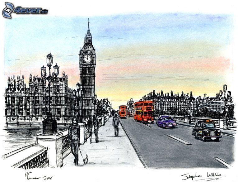 London, Big Ben, Brücke, Londoner Bus, Autos, Menschen, England