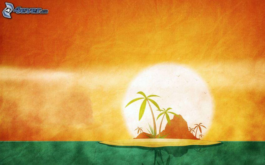 Palmeninsel, Meer, leuchtende orange Sonne, Malerei